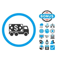 Cash Delivery Flat Icon with Bonus vector image vector image