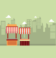 collection of street stall landscape vector image vector image