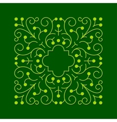 Floral square greeen frame vector image vector image