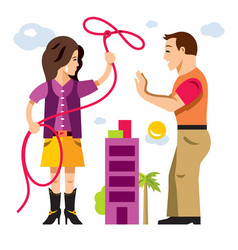 lasso of love flat style colorful cartoon vector image