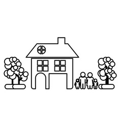 monochrome contour of family away from home in vector image