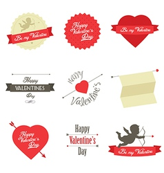 Set of Valentine s Day red labels and badges vector image