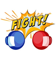 Boxing gloves and word fight on white background vector image