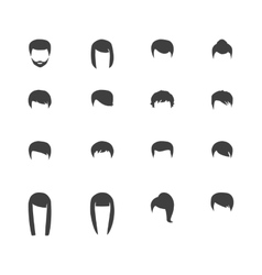 hair silhouettes woman and man hairstyle vector image
