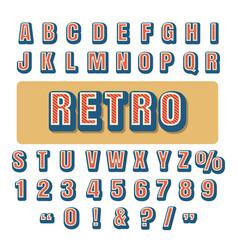 retro typography alphabet font vector image