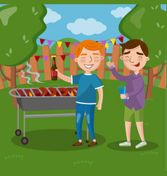 happy friends having outdoor barbecue men cooking vector image