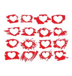 Set of symbol brush paint hearts vector image