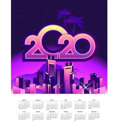 2020 calendar holiday city vector image