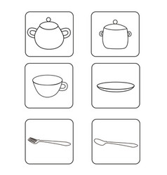 a set of icons of tableware templates vector image