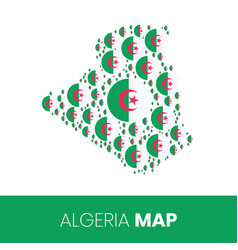 Algeria map filled with flag-shaped circles vector