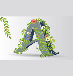 alphabet letter a symbol with flowers and leaves vector image