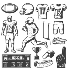 American Football Monochrome Elements Set vector
