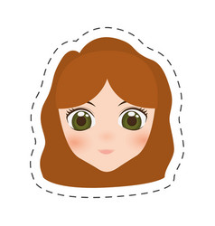 Anime face girl cartoon - cut line vector