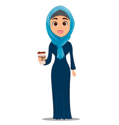 Arabic woman with coffee businesswoman cartoon vector