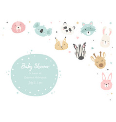 Baby shower invitation with cute animals vector