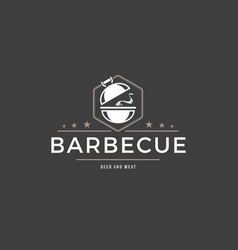 Barbecue logo template object for logotype vector