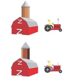 barn tractor vector image