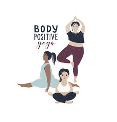 body positive yoga concept vector image