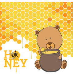 Bright postcard with a bear and honey vector