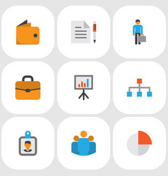 business icons flat style set with structure vector image