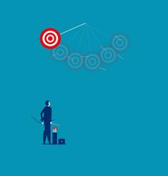 Businessman shooting arrows missing target vector