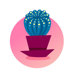cactus icon domestic plant concept isolated round vector image