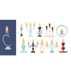 candlestick burning fire on candle holder vintage vector image