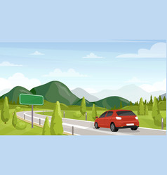 Car travel road trip flat vector