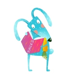 Cartoon blue bunny reading book eating carrot vector image
