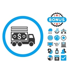Cash Lorry Flat Icon with Bonus vector image