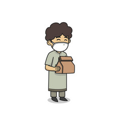 Child character holding a gift to distribute vector