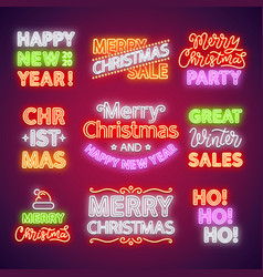 Christmas neon lettering set vector