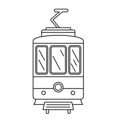 City tramcar icon outline style vector