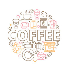 coffee icons background circle shape from coffee vector image