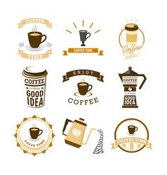 Coffee time various mural lettering typography vector