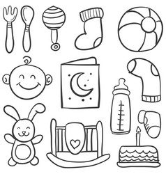collection of baby element doodles vector image