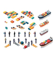 Collection of Port Warehouse Isometric Icons vector image