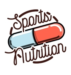 Color vintage sports nutrition emblem vector