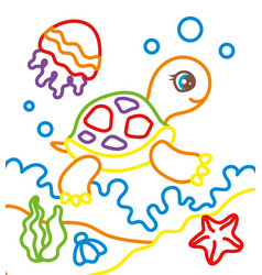 coloring book of turtle with jellyfish vector image