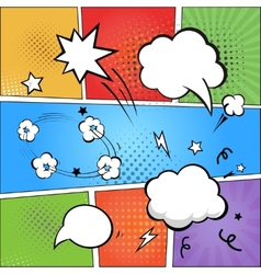 Comic strip and comic speech bubbles on colorful vector image
