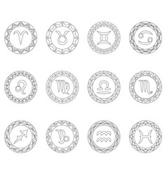 Complete set twelve signs of zodiac symbols vector