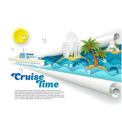 cruise time paper cut poster banner vector image