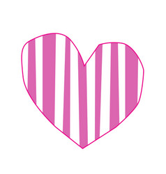 Cute big pink paper cut heart sticker with vector