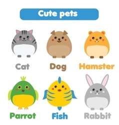 Cute pets set in children style vector