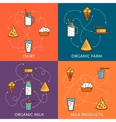 Dairy banners set with milk products vector