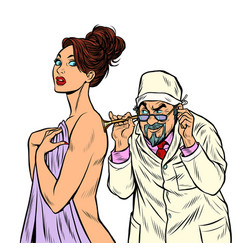 Doctor with retro stethoscope listening to a vector