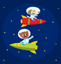 dog and bear astronauts spacemen riding rockets vector image