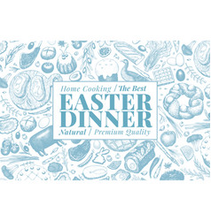easter dinner banner template hand drawn vector image
