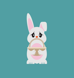 easter egg bunny holding empty basket vector image