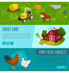 Farm horizontal banners cartoon farming concepts vector image